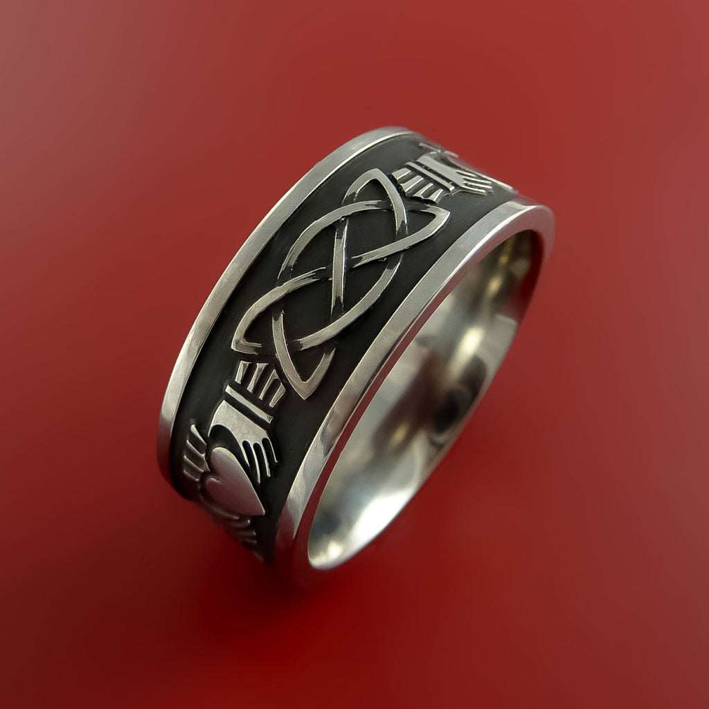 Titanium Celtic Irish Claddagh Ring Hands Clasping A Heart