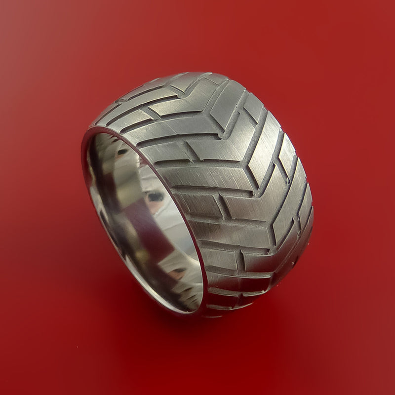 Titanium Wide Carved Tread Design Ring Bold Unique Band Custom Made to Any Sizing 4-22
