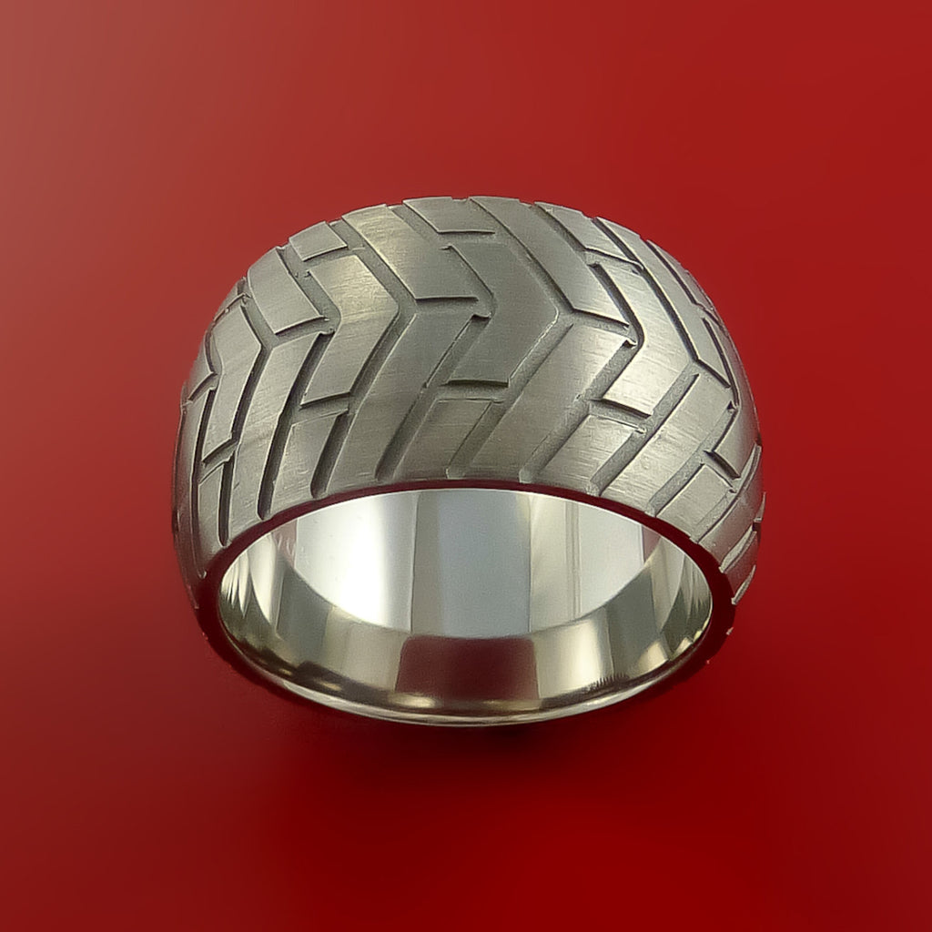 Titanium Wide Carved Tread Design Ring Bold Unique Band Custom Made to Any Sizing 4-22 by Stonebrook Jewelry