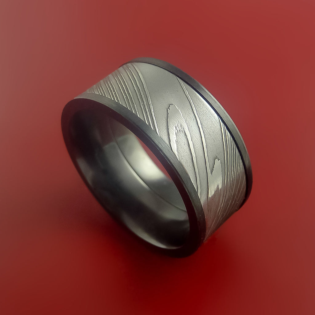 Black Zirconium and Damascus Steel Band Custom Made Ring by Stonebrook Jewelry