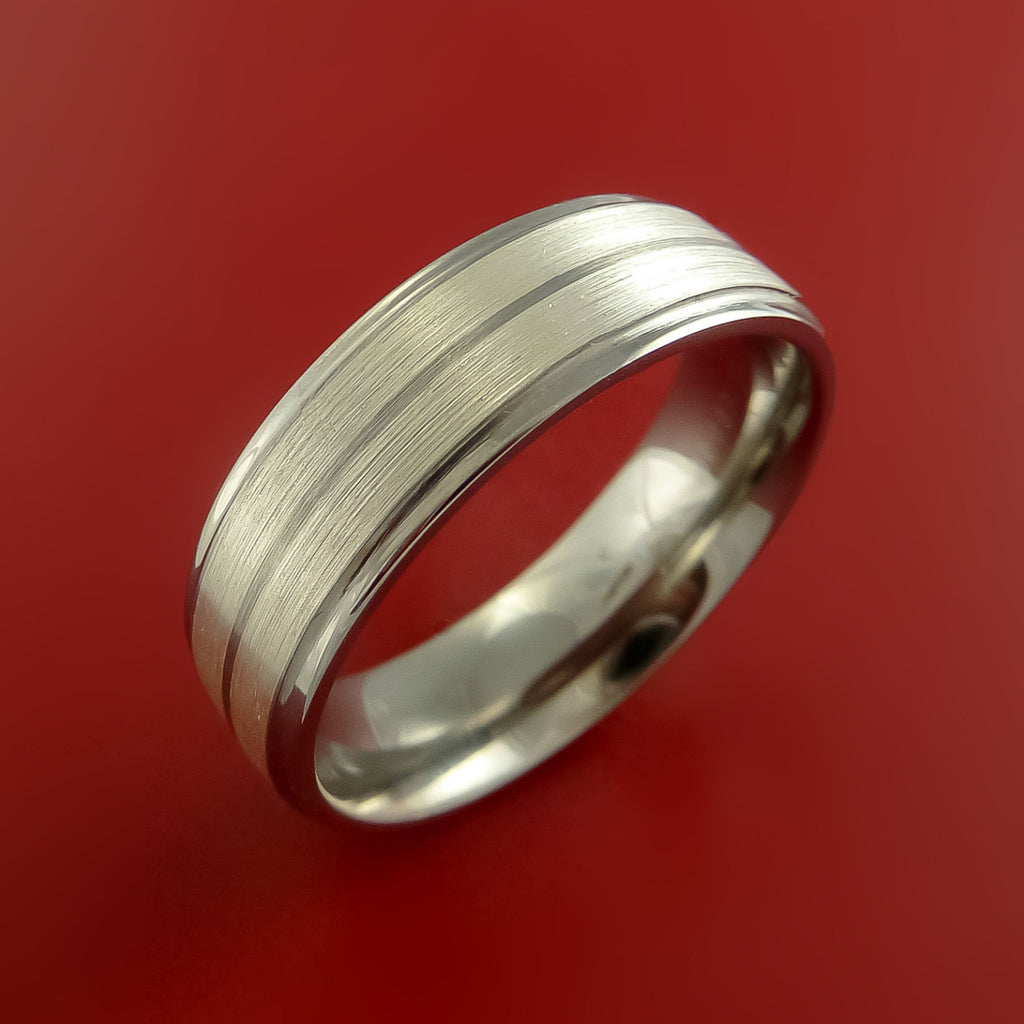 Titanium and Sterrling Ring with 4mm Silver Inlay Wedding Band Made to Any Size 3-22 by Stonebrook Jewelry
