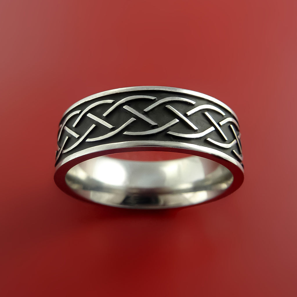 Titanium Celtic Irish Claddagh Ring Hands Clasping a Heart Band Carved Any Size - Stonebrook Jewelry  - 3