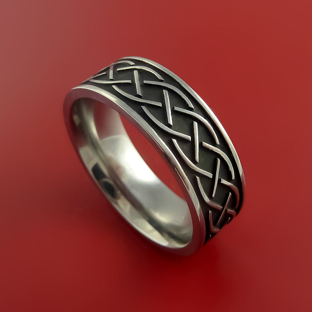 Titanium Celtic Irish Claddagh Ring Hands Clasping a Heart Band Carved Any Size by Stonebrook Jewelry