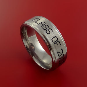Titanium Unique Personal Message Ring Class Ring Band Made to Any Sizing 3-22