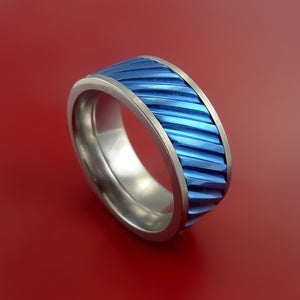 Blue Anodized Titanium Inlay Spinner Unique Titanium Band Custom Made to order Sizing 5-18