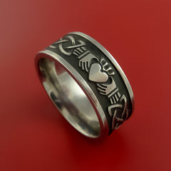 Titanium Celtic Irish Claddagh Ring Hands Clasping a Heart Band Carved Any Size - Stonebrook Jewelry  - 1