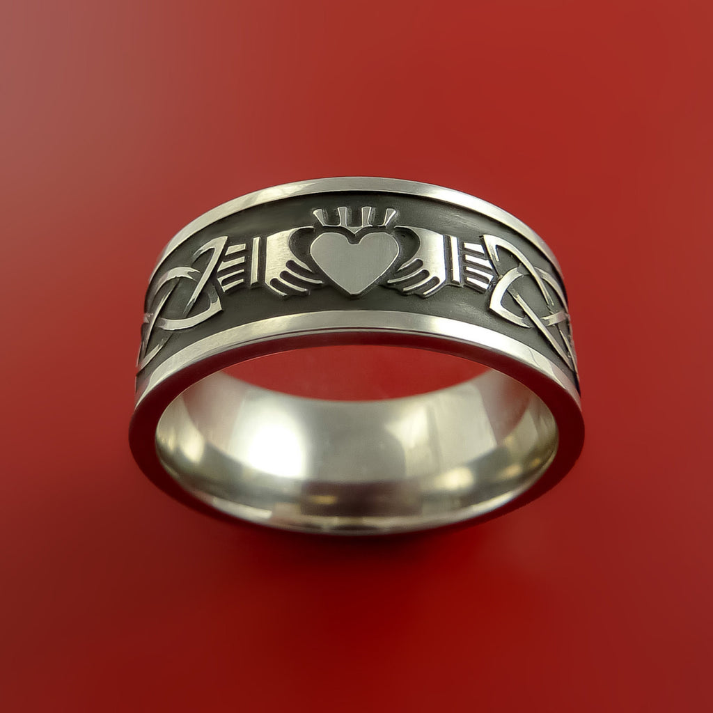 Tire Size Comparison >> Titanium Celtic Irish Claddagh Ring Hands Clasping a Heart ...