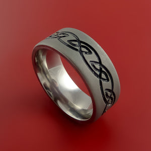 Titanium Celtic Band Infinity Design Ring Any Size 3 to 22 Any Color