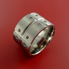 Titanium Unique Wide Wedding Band Rings Made to Any Sizing 3-22 by Stonebrook Jewelry