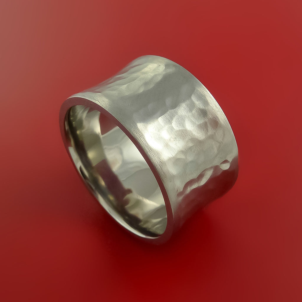 Wide Hammered Titanium Ring Custom Made Band