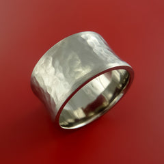 Titanium Extra Wide Modern Style Hammer Band Fashion Ring Made to Any Sizing - Stonebrook Jewelry  - 4