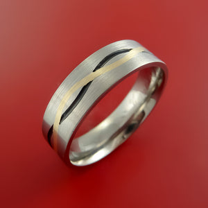 Titanium Ring with 14k Yellow Gold and Cerakote Inlays Custom Made Band