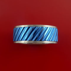 Blue Titanium Inlay Spinner Unique Titanium Band Custom Made to order Sizing 5-18 by Stonebrook Jewelry