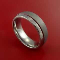 Titanium Band Custom Color Design Ring Any Size Band 3 to 22 Red, Blue, Green Inlay - Stonebrook Jewelry  - 1