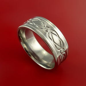 Celtic Titanium Silver Inlay Band Wedding Ring Custom Made