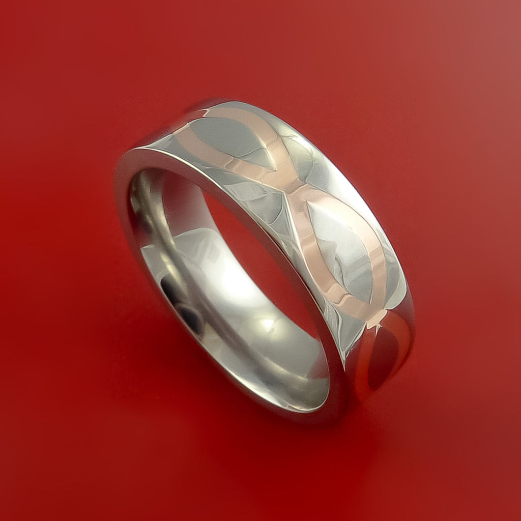 Titanium Ring with Infinity Milled Celtic Design and 14k Rose Gold Inlays Custom Made Band
