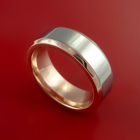 Titanium Ring Classic Style with Solid 14k Rose Gold Inner Sleeve Wedding Band Any Size and Finish 3-22