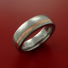 Damascus Steel and Copper Ring Wedding Band Custom Made by Stonebrook Jewelry