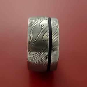Damascus Wide Steel Ring Wedding Band Genuine Craftsmanship