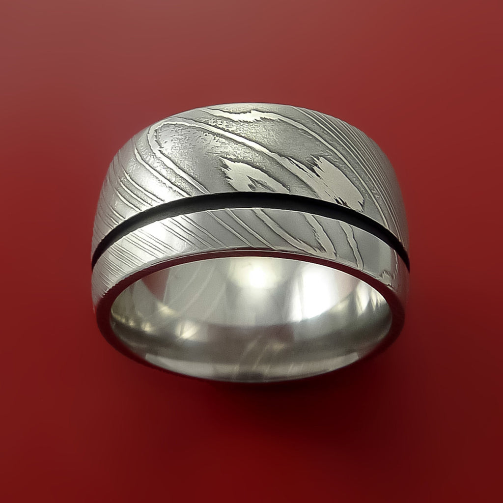 Damascus Wide Steel Ring Wedding Band Genuine Craftsmanship - Stonebrook Jewelry  - 3
