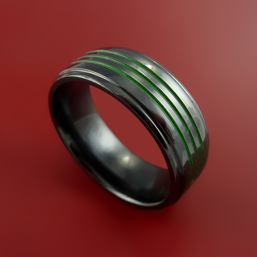 Black Zirconium Ring Color Inlay Green Style Band Made to Any Sizing and Finish 3-22 by Stonebrook Jewelry