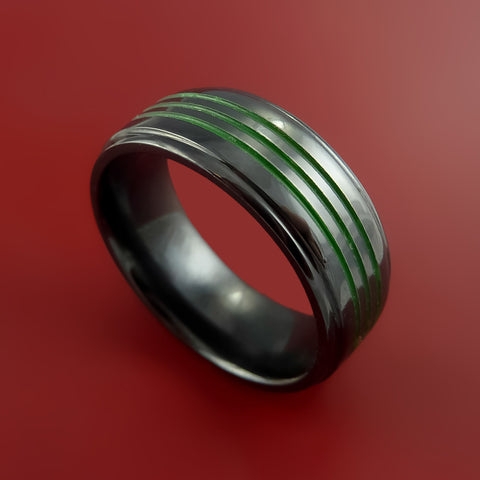 Black Zirconium Ring Color Inlay Green Style Band Made to Any Sizing and Finish 3-22