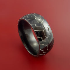 Black Zirconium Ring Textured Tread Pattern Band Made to Any Sizing 3-22 by Stonebrook Jewelry