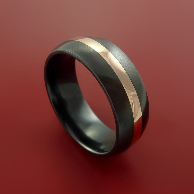 Black Zirconium and 14K Rose Gold Ring Custom made Band Angle Satin Finish and Sizing from 3-22