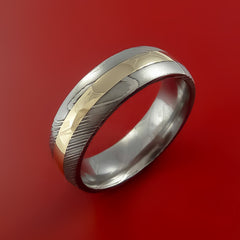 Damascus Steel 14K Yellow Gold Ring Wedding Band - Stonebrook Jewelry  - 4
