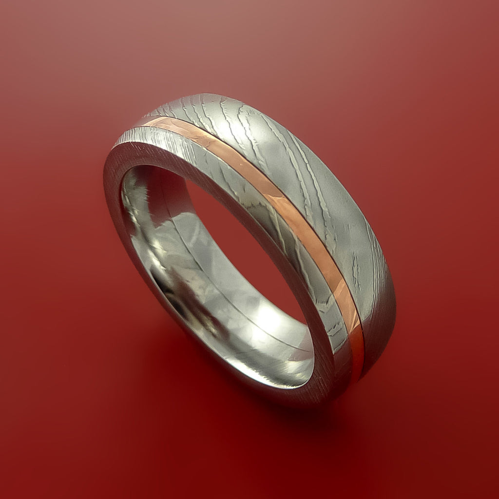 copper wedding ring damascus steel and copper ring wedding band custom made 3052