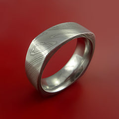 Damascus Steel Square Band Pattern Ring by Stonebrook Jewelry