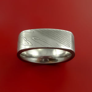 Damascus Steel Square Band Pattern Ring