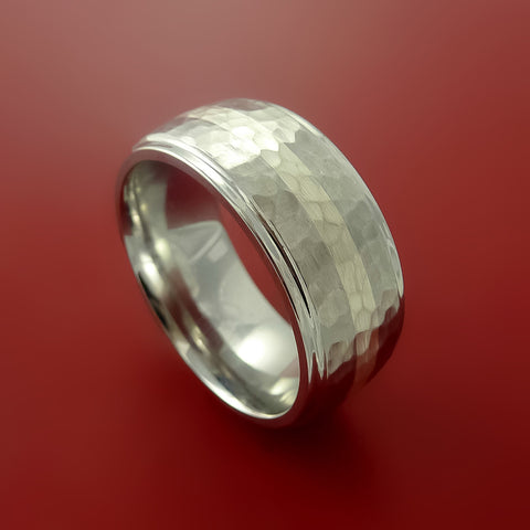 Cobalt Chrome Wide Ring Classic Style with Hammer Finish and Palladium Inlay Wedding Band Any Size 3-22