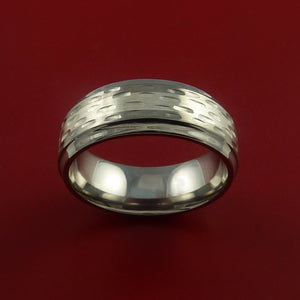 Titanium Textured Ring with Silver Inlay Wedding Band Any Size and Finish Alternative Look