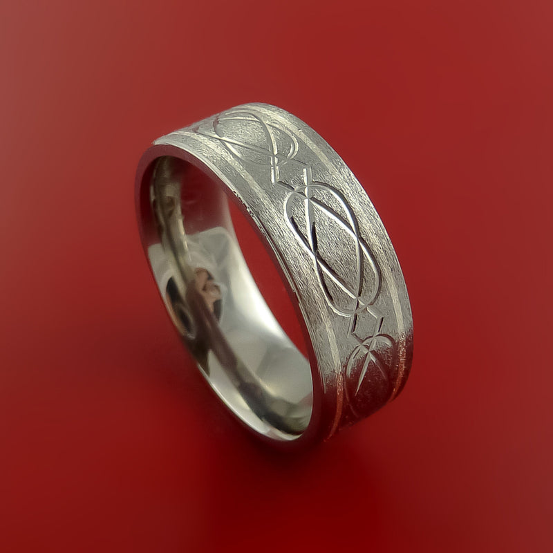Celtic Titanium 14K White Gold Inlay Band Wedding Ring Custom Made