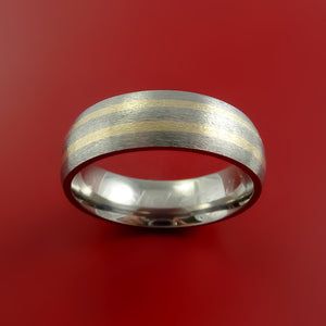 Titanium and 14K Yellow Gold Ring Custom Made Band Any Finish and Sizing 3 to 22