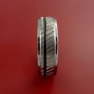 Titanium Rifling Carved Band Custom Ring With Optional Inlay Color Made to Any Sizing