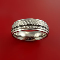 Titanium Rifling Carved Band Custom Ring With Optional Inlay Color Made to Any Sizing - Stonebrook Jewelry  - 3