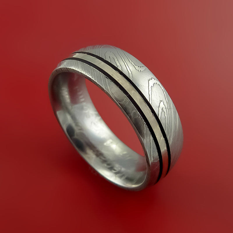 Damascus Steel Ring with 14K White Gold and Black Antiqued Groove Inlays Custom Made Band