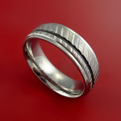 Titanium Rifling Carved Band Custom Ring With Optional Inlay Color Made to Any Sizing by Stonebrook Jewelry