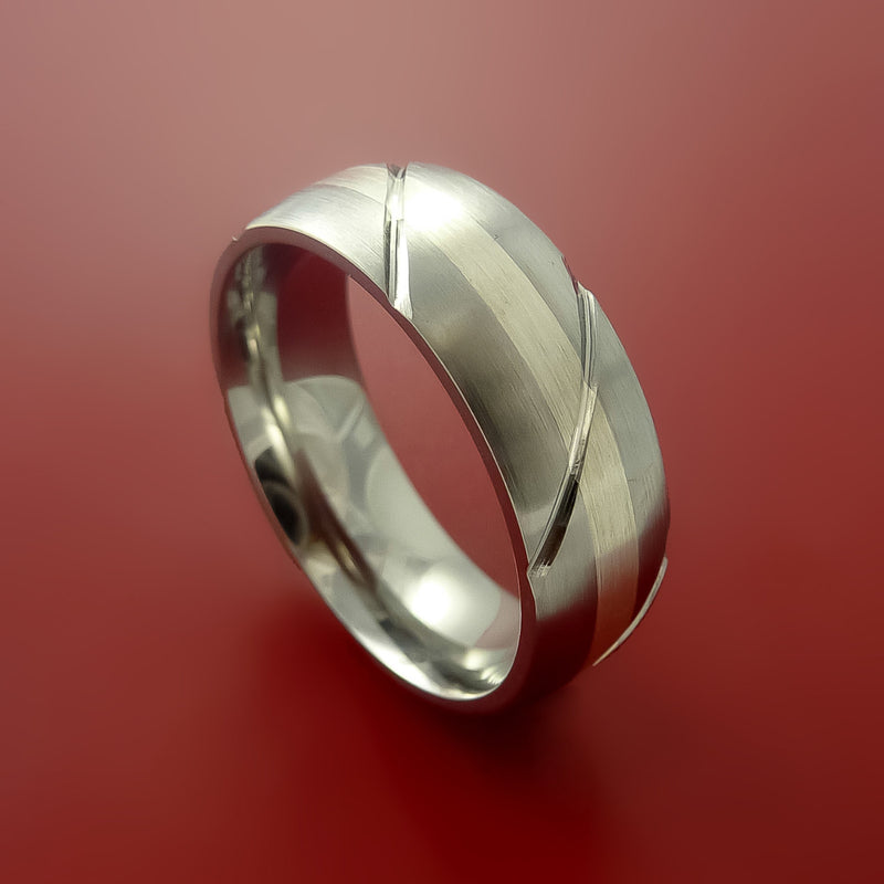 Titanium Textured Ring with 14K White Gold Inlay Wedding Band Any Size and Finish Alternative Look
