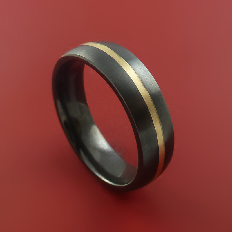 Black Zirconium Ring with 14k Yellow Gold Inlay Custom Made Band