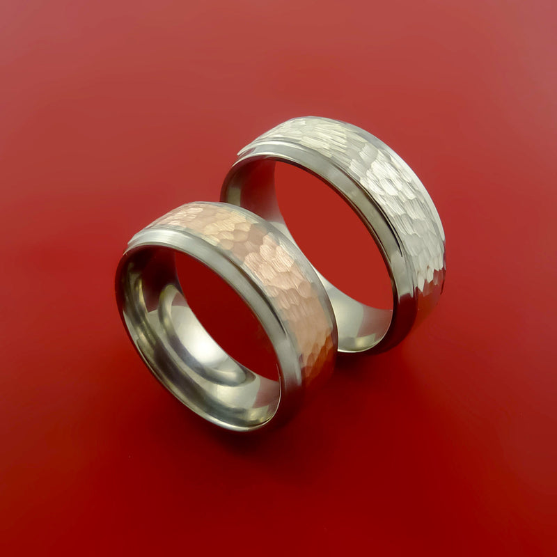 Titanium Ring Set Style with Hammered 14k Rose Gold and 14K White Gold Inlay Wedding Bands Any Size