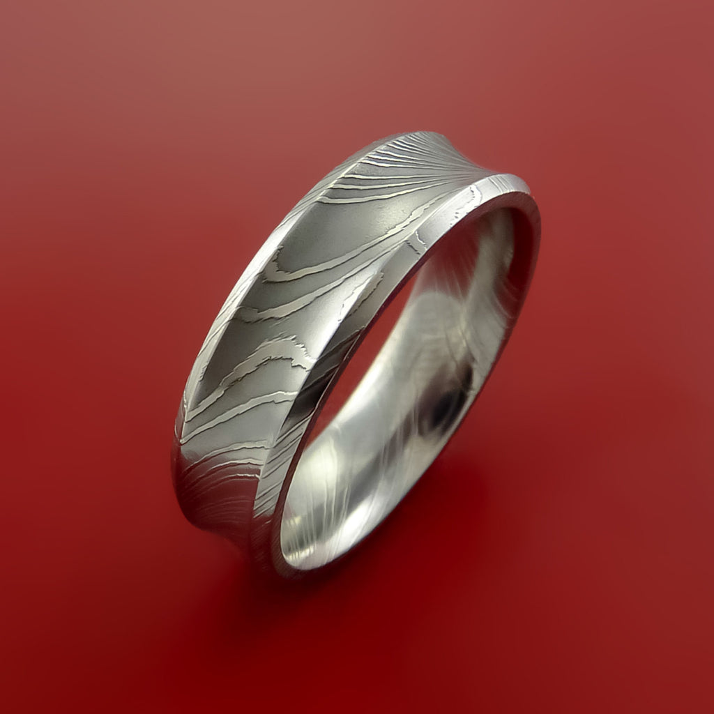 Damascus Steel Ring Wedding Band Genuine Unique Style - Stonebrook Jewelry  - 4
