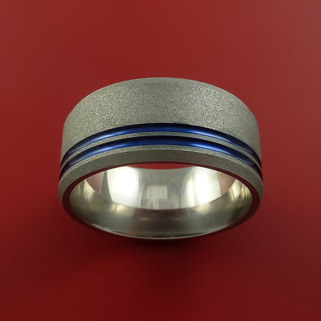 Titanium Wedding Band Engagement Ring Made to Any Sizing and Finish 3-22 Any Color by Stonebrook Jewelry