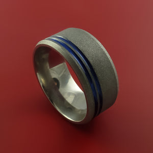 Wide Titanium Ring with Cerakote Inlay Custom Made Band