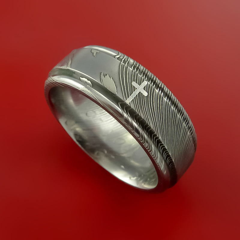 Damascus Steel Ring with Platinum Cross Inlay Custom Made Band