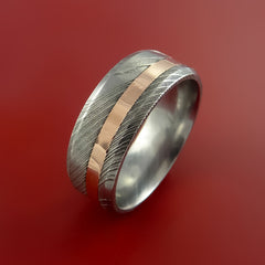 Damascus Steel 14K Rose Gold Ring Wedding Band Custom Made - Stonebrook Jewelry  - 4