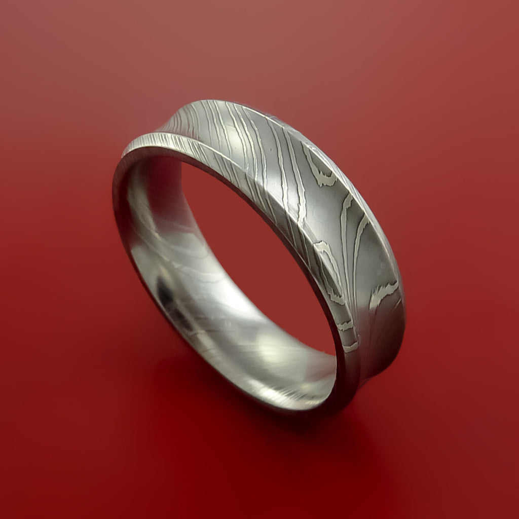 Damascus Steel Ring Wedding Band Genuine Unique Style by Stonebrook Jewelry