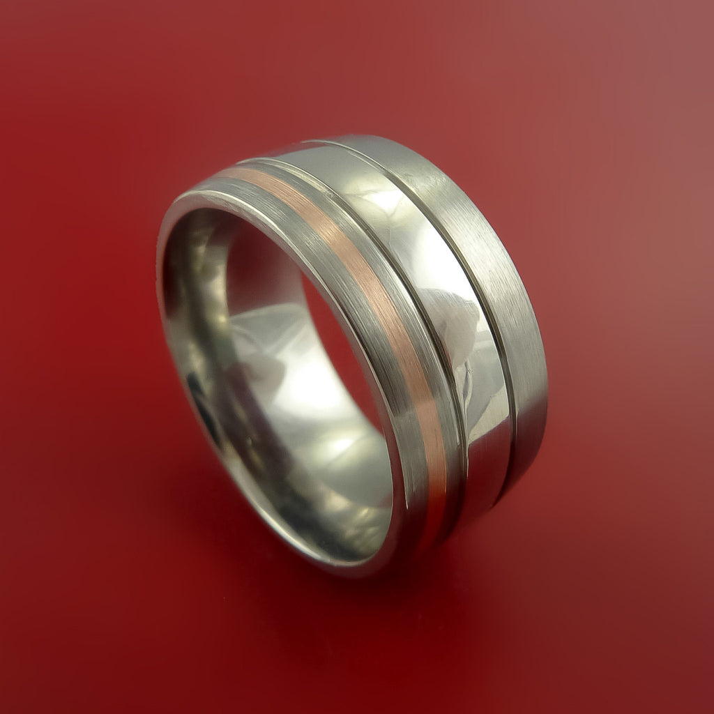 Platinum and 14K Rose Titanium Wedding Ring Custom Made Band Any Finish and Sizing from 3-22